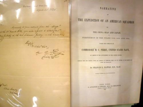 ペリーの自筆サイン(左中央部)入り旅行記