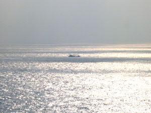 北朝鮮沖の海を北上する漁船、どこの国籍でしょうか?