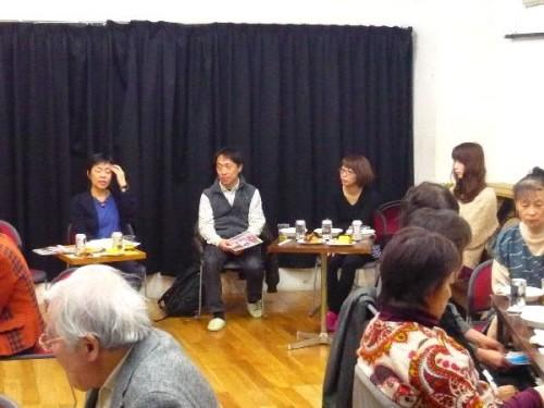 左から司会の本間恵さん、脚本家、イトウワカナさん、畠山さん