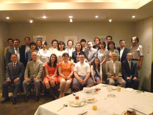 夜はKevinを偲ぶ方々の歓迎会:日米協会御手洗理事、北・マ州協会松江副会長、中垣事務局長も