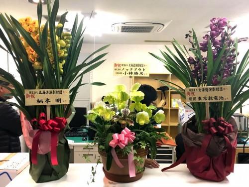 柄本明さんほかから早速お祝いのお花も届きました!