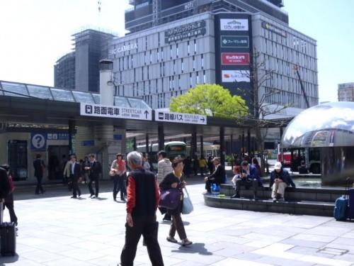 JR前広場に乗り入れる広島市電の各線