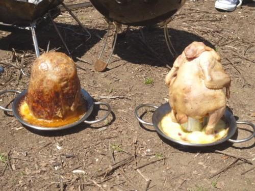 ハンバーグと鶏肉・調理完了