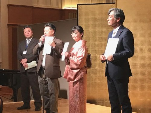 左・北口さん、スーツ姿は初めて!、松野さん、黒川さん、右は中川賢一さん!