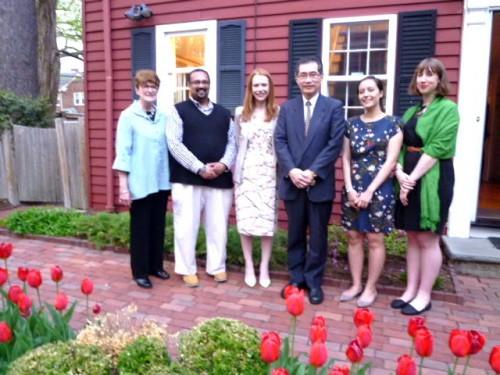 [L to R: Susan Pharr, Subodhana Wijeyeratne ('14-'15), Amy Catalinac ('06-'07), Koji Akiyama (Chairman, Akiyama Life Science Foundation), Sakura Christmas ('10-'11), and Hannah Shepherd ('13-'14)]