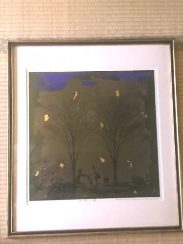 20年前の札幌での展示会で買い求めた彼の作品「荒川土手の風景」