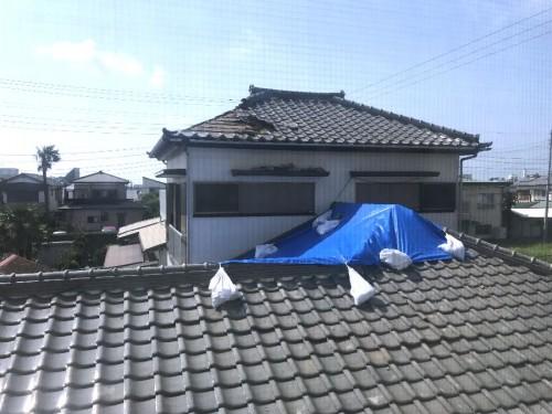 西隣のお家の屋根も大きな被害、上・下