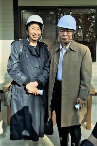 穴堰見学で。津田塾大学高橋学長と作家青山さん