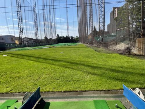 早朝のゴルフ練習場で!